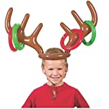 VEYLIN Christmas Party Toss Game Inflatable Reindeer Antler Hat with Rings for Kids Adults Family Xmas Fun Games