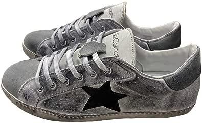 VIA CONDOTTI Scarpe Sneaker Basse Uomo Grigie camoscio Pelle Bianca Sfumata Stella Nera Nuovo