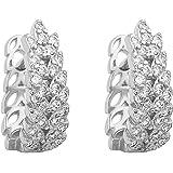 LIHELEI Orecchini in argento con zirconi cubici per donna, orecchini a polsino Cartilage Huggies Set di orecchini in argento