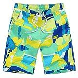 Echinodon Jungen Badeshorts mit Print Badehose Strand Shorts Beachshorts Grün