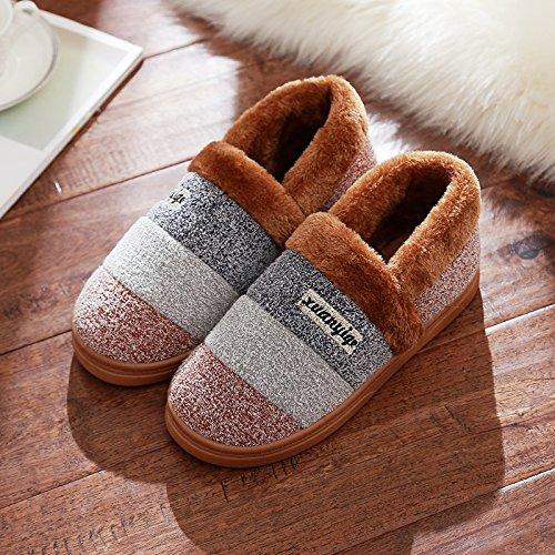 DogHaccd pantofole,Il cotone pantofole soggiorno femmina maschio della high-pacchetto con camera di spessore, antiscivolo coppia invernale di spessore caldo Inverno Home Il caffè4