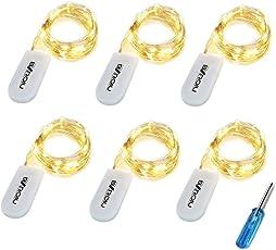 6 x 20er Micro LED Lichterkette mit CR2032 Batterie betrieb Auf 2 Meter Silberdraht für Party, Garten, Weihnachten, Halloween, Hochzeit, Beleuchtung Deko (6 Stück Warm weiß)
