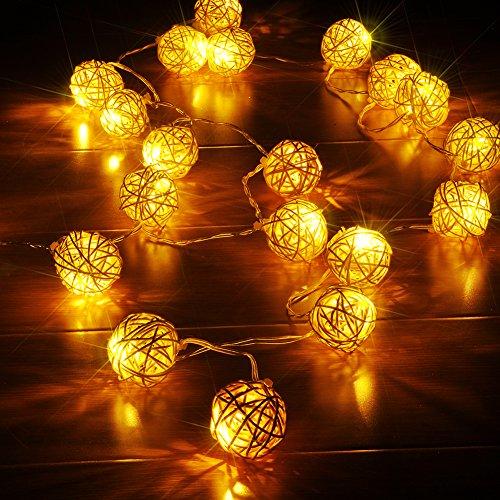 JINGXU® 4M Guirlande Lumineuse avec 20 LED Boule Rotin Sepak Takraw Lumières USB Powered Décoration Noël, Mariage, Party (blanc chaud)