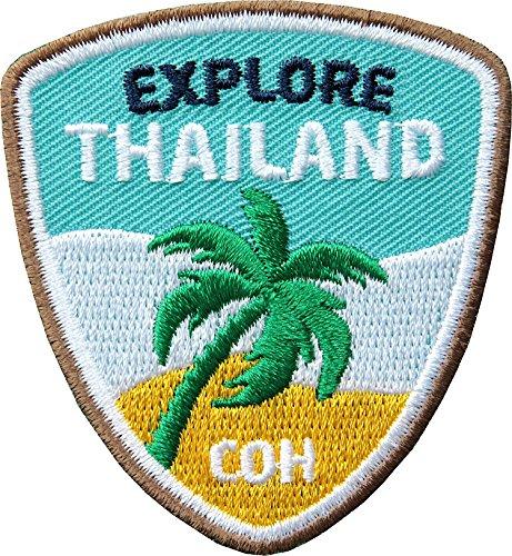 2 x Thailand Abzeichen 55 x 60 mm gestickt/ Explore Thailand - Backpacker Trekking Reise Asien / Aufnäher Aufbügler Flicken Sticker Patch für Kleidung Rucksack / Reiseführer Landkarte Karte Bildband