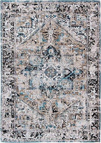 Louis de poortere tappeti designer antiquario heriz 8708golden horn beige anticata in stile vintage sbiadito e area rugs, beige, 290x390cm - (9'5x12'8)