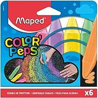 Maped Color'Peps Grosses Craies de Trottoir pour Enfant, Facile à Nettoyer - Etui de 6 Craies de Couleurs Vives…