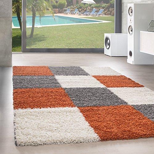 Shaggy Hochflor Langflor Teppich Wohnzimmer Carpet Farben & Formen Karo Kariert!, Größe:80x150 cm, Farbe:Orange -