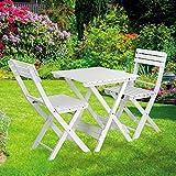 DEMA Bistroset Sanremo Weiß Balkonmöbel Gartenmöbel 2X Stuhl 1x Tisch klappbar