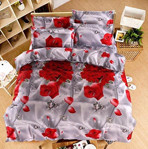 Herzförmiger Bettbezug Set (yifutang 3D-Effekt-Bettwäsche-Sets Bettbezug-Set romantisch rote Rose Herzförmige Rose 3D-Druckeffekt Mit Bettbezug Blätter 2 Kissenbezug Einzel-Doppelbett Weich Polyester Vierteiliges Set, A)