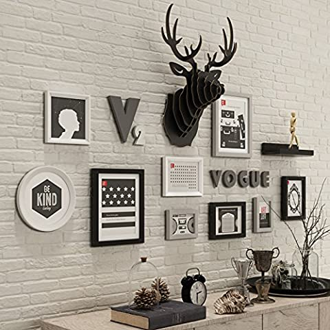 XKDHC® Foto marco pared estantes living comedor foto madera minimalista modernos marco colgante de pared ciervos foto creativa cabeza pared , 1