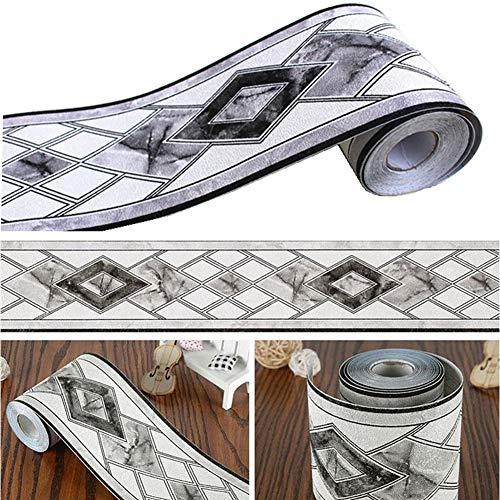 Bordo decorativo per pareti e soffitto, per bagno, soggiorno, cucina, 10 cm x 5 m, colore: bianco e nero