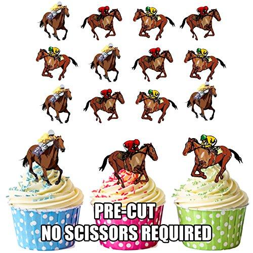 Horse Racing Racehorse Mélange de 12 décorations comestibles en gaufrette pour cupcakes