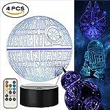 Star Wars 3D Lampe für Geschenke- Star Wars Spielzeug Nachtlicht, 4 Modus und 7 Farbwechsel mit Fernbedienung oder Touch, Dekorieren Kinds Bedroom. 2018 Besten Geschenke von(4 Packs-Bigger-Heller)