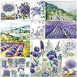 Tovaglioli di carta con motivo floreale, viola, confezione da 20 tovaglioli per decoupage, 3 strati, 33 x 33 cm (2 tovaglioli ciascuno di 10 diversi disegni)