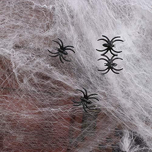 YKQ WS Halloween Dekoration Baumwoll Stretch Spinnennetze Indoor & Outdoor Spinnengewebe mit 25 Fake Spinnen 4m²