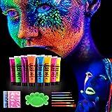 Herefun 8 x 25ml Peinture Corporelle-UV Maquillage Coloré Fluo Néon Kit Pour Lumière Noire avec 5 Feuilles de pochoirs de tatouage, 6 Pinceaux et une palette de mélange