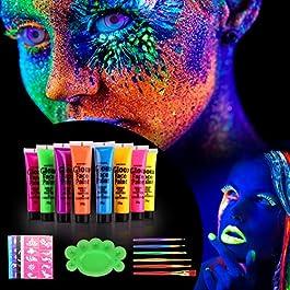 [ 8 x 25ml ] Vernice Fluorescente Colorato Neon Kit, UV Glow Kit Trucco Viso Body Face Painting per Pelle Viso Corpo Colore UV Fluo sotto La Luce Nera – Lavabile – Non Tossico
