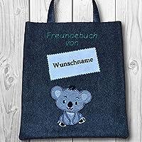 Freundebuchtasche mit Name - Wollfilz gefüttert - Text & Farben anpassbar - Motiv: Koala