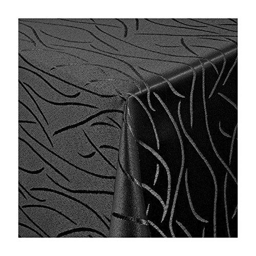 TEXMAXX Damast Tischdecke Maßanfertigung im Streifen-Design in schwarz 130x380 cm eckig,