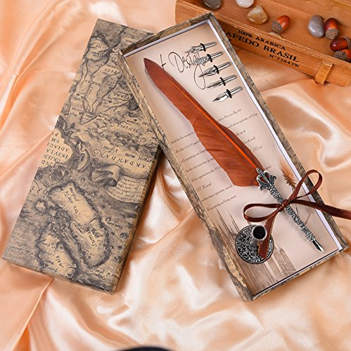 Quill - Juego de 5 bolígrafos de punta de metal para caligrafía, diseño de plumas antiguas, color naranja