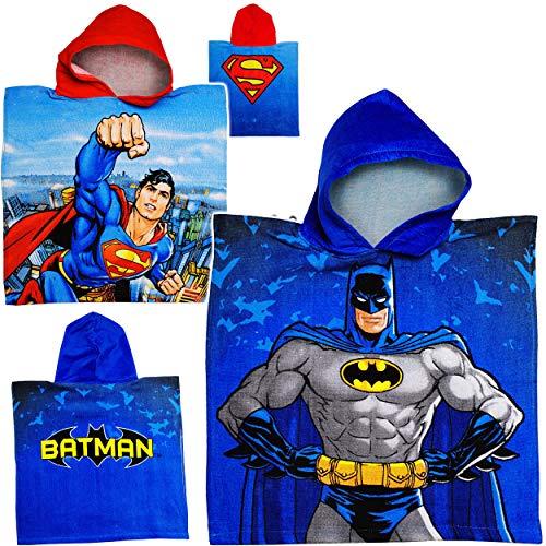 alles-meine.de GmbH Badeponcho / Kapuzenhandtuch - Batman / Superman - 100 % Baumwolle - 50 cm * 105 cm - 2 bis 6 Jahre Poncho - mit Kapuze - Frottee / Velours - Handtuch Strandt.. Velours-poncho