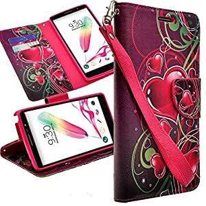 Alcatel One Touch Fierce XL Case - Magnetic Leather Folio Flip Wallet Pouch Case Cover With Fold Up Kickstand and Detachable Wrist Strap For Alcatel One Touch Fierce XL TWIN HEART