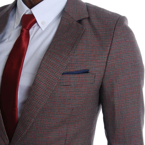 FLATSEVEN Mens Slim Fit Premium Blazer Veste À Micro-Carreaux Multicoloured