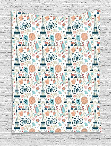 teppich, Herbst in Frankreich Thema, Wohnzimmer Schlafzimmer Heim Seidiges Satin Wandteppich, 150 x 200 cm, Mehrfarbig ()