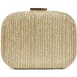 Vain Secrets Damen Bast Abendtasche Clutch Umhänge Tasche Handtasche geflochten Hard Case in vielen Farben (Gold)
