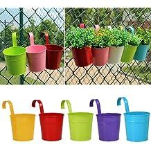 Metal hierro macetas, greenmall para colgar maceta balcón jardín planta decoración para el hogar, 5colores