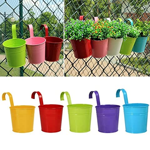 Flower Pots , Greenmall Metal Iron Hanging Planter Balcony Garden Plant Home Decor,5 Colors