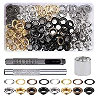 FOGAWA Grommet Kit 100 Pcs 10mm Metal Grommets Eyelets Tarpaulin Repair Kit with 3Pcs Install Tool Kit with Plastic Box for Shoes Clothes Canvas Leather Repair Decoration DIY Crafts 4 Colors
