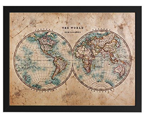 Historische Weltkarte aus der Mitte des 18. Jahrhunderts, schwarz gerahmt 30 cm x 40 cm, Dekoration, Kunstdruck, Wandbild, Worldmap, Vintage, Retro, Wandposter (Schwarz gerahmt 30 cm x 40 cm)