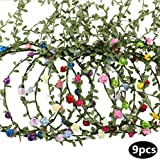 AWAYTR 9 Pieces Flower Crown Floral Wreath Headband Floral Garland Headbands for Festival Wedding Party Multi Color