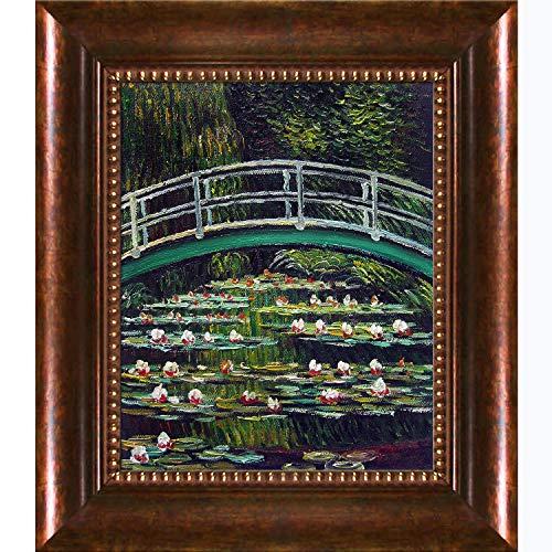 overstockArt La Pastiche Ölgemälde mit weißen Seerosen und japanischer Brücke, 1899, mit goldfarbenen Perlen, 40,6 x 35,6 cm, Mehrfarbig Verona, Perle, Bilderrahmen 14