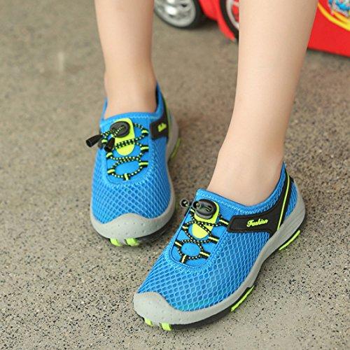CAIJ Jungen Mädchen Hohl Atmungsaktiv Mesh Wandern Laufschuhe Sportschuhe Turnschuhe für Kinder Blau