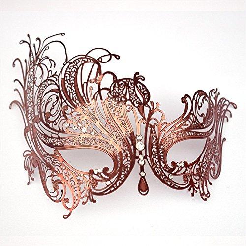 PromMask Masken Gesichtsmaske Gesichtsschutz Domino falsche Front Metall Strass Halbes Gesicht Maske Weibliches Halloween Kostüm Ball Party ()