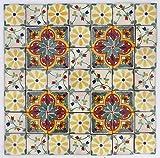 Pacco da 50 Mattonelle Messicane Talavera Fatte a Mano da 5 cm: Los Florals
