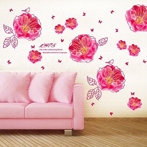 Romantische Rose Peach (Hongrun Romantische Blumen Rosen Liebe TV Wandhalterung Schlafsofa passt schön in warmen und Happy Peach 117 * 63 cm)