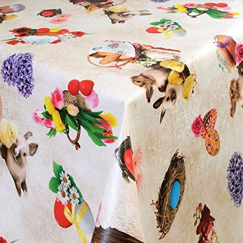 Wachstuch Tischdecke Gartentischdecke mit Fleecerücken Pflegeleicht Schmutzabweisend Abwaschbar Outdoor Oster Nest (01301-00) 100x140 cm - Größe individuell wählbar