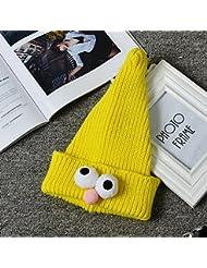 XJoel sombrero de punto Cofia capucha niños bufanda caliente del ganchillo de la gorrita tejida del sombrero del invierno de la carretera amarilla muchacha de los niños