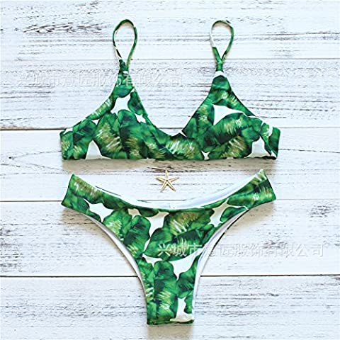 GK-Druck aufteilen Riemen sexy grünes Blatt print Bikini Badeanzug ,Grünes Blatt,L