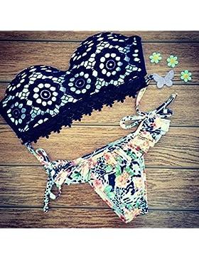 Moderno y cómodo bikini _ bañador de moda de tendencia de flores de encaje negro, división de la marina ,M