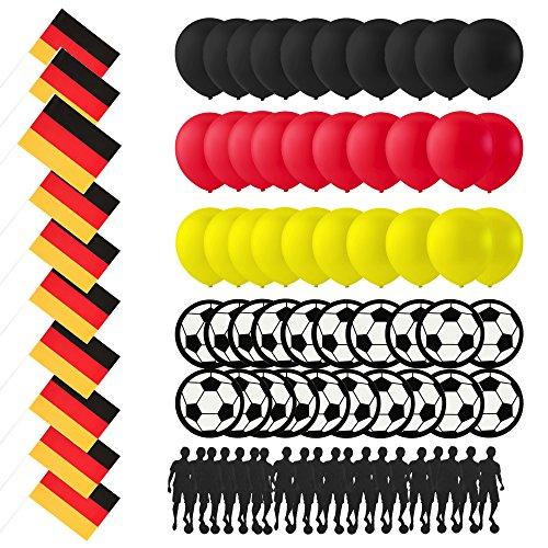 greedeko XXL Deutschland WM 2018 Dekoration Fussball Set 80 tlg. Fan-Artikel Deko Party Flagge Ballon schwarz rot gelb