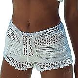 Frauen Sexy Openwork häkeln Shorts Stretch Taille lässig Strand Verband Spitzen Hot Pants Seaside Freizeit Bike Reisen Mini Bequem Sporthosen