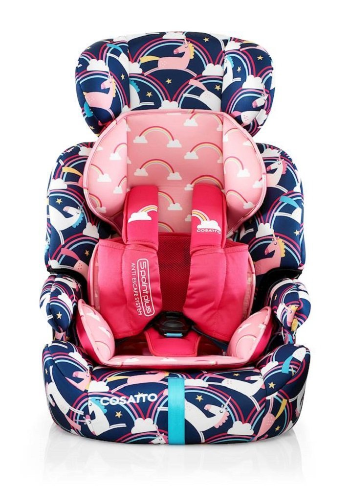 Cosatto Zoomi Car Seat Group 123, 9-36 kg, Magic Unicorns Cosatto Cosatto Zoomi Group 123 Car Seat five point plus anti escape system harness - ideal for keeping little wrigglers in place Suitable from 9 kg-36 kg zoomi's an investment; two part reversible seat liner adjustable headrest chest and tummy pads Removable, washable covers to keep your car seat pristine 1