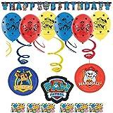 'Paw Patrol' Geburtstag Dekoration Set Happy Birthday Deko bunte Partykette Girlande Spirale Banner Luftballon Konfetti Paw Patrol für jeden Alter