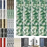 Flauschvorhang Individuell Kürzbar Auswahl: Meliert Dunkelgrün - Weiß 90 x