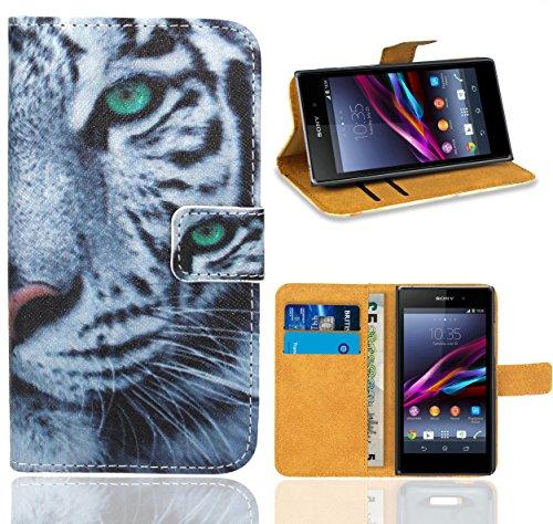 Sony Xperia Z1 Handy Tasche, FoneExpert Wallet Case Flip Cover Hüllen Etui Ledertasche Lederhülle Premium Schutzhülle für Sony Xperia Z1
