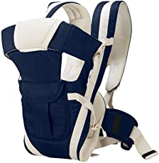 KIDZVILLA® Baby Carrier with Wide Shoulder Straps Comfortable Head Support & Buckle Straps with Adjustable Hands (Blue)